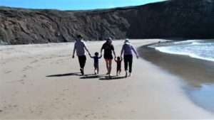 Family at Cooks Beach, photo by Tony Applegarth