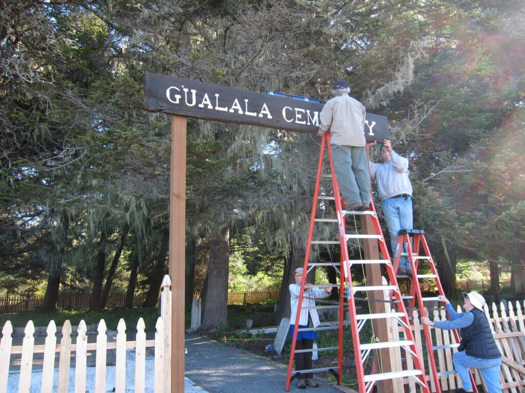 Gualala Cemetery Sign Mounting, By Dave Shpak